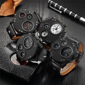 Image 4 - Oulm unikalne zegarki sportowe mężczyźni luksusowa marka dwie strefy czasowej zegarek dekoracyjny kompas męski zegarek kwarcowy relogio masculino