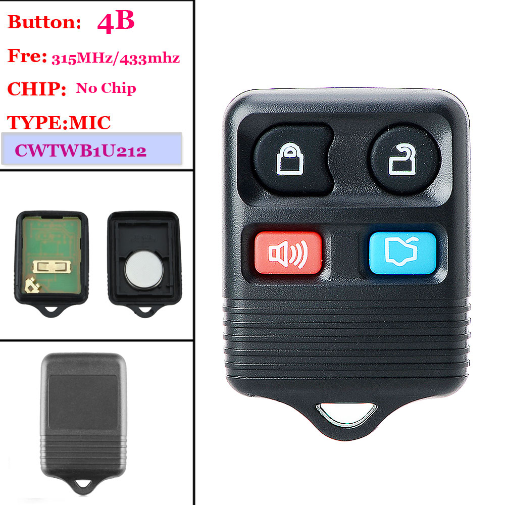Good quality(1 piece )4 Buttons Remote Car Key Transit Keyless Entry Fob 433/315Mhz For Ford ( CWTWB1U345) 2003 03 ford taurus pink keyless entry remote 4 button