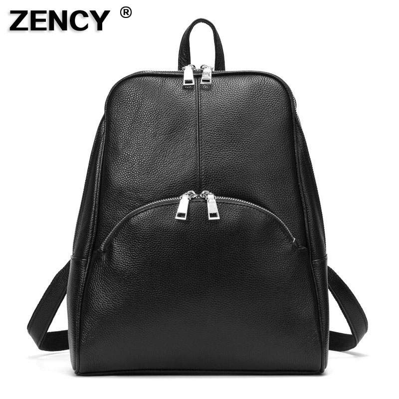 2019 Fashion European Popular 100% Genuine Leather Cowhide Women Daily Cowhide Girls Female Backpacks School Book Bags Designer
