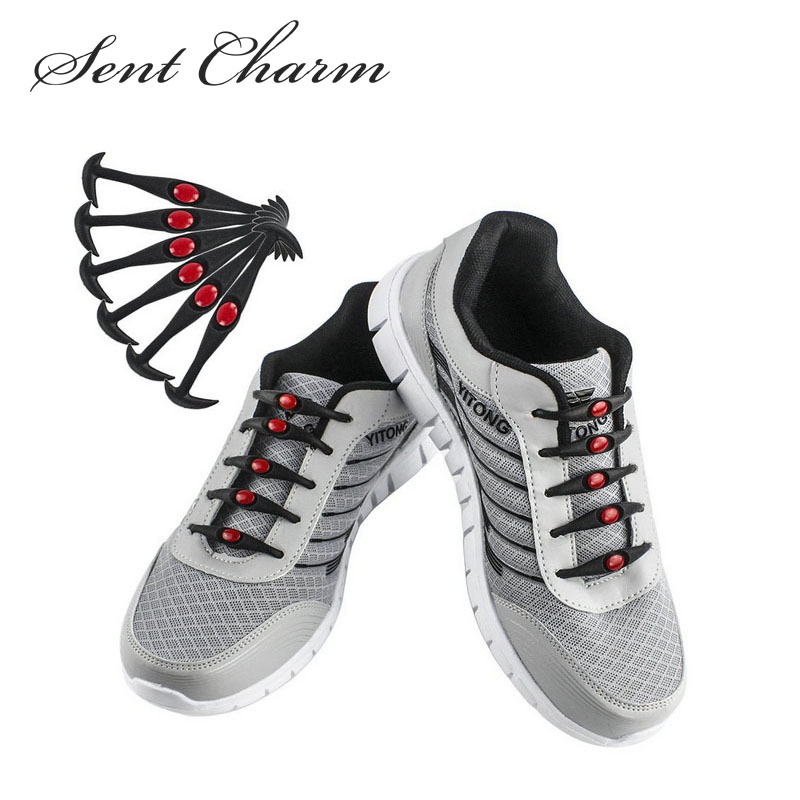 SENTCHARM Elastic Stretch No Tie Wash-Free Silicone Shoelaces Fashionable Fit Strap For Sneakers 12pcs/Pack