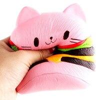 11 cm Visqueux Belle Hamburger Chat Kawaii Parfumée Fidget Pu Squeeze Guérison Fun Kids Toy Décor D'anniversaire Cadeau Hamburger Chat
