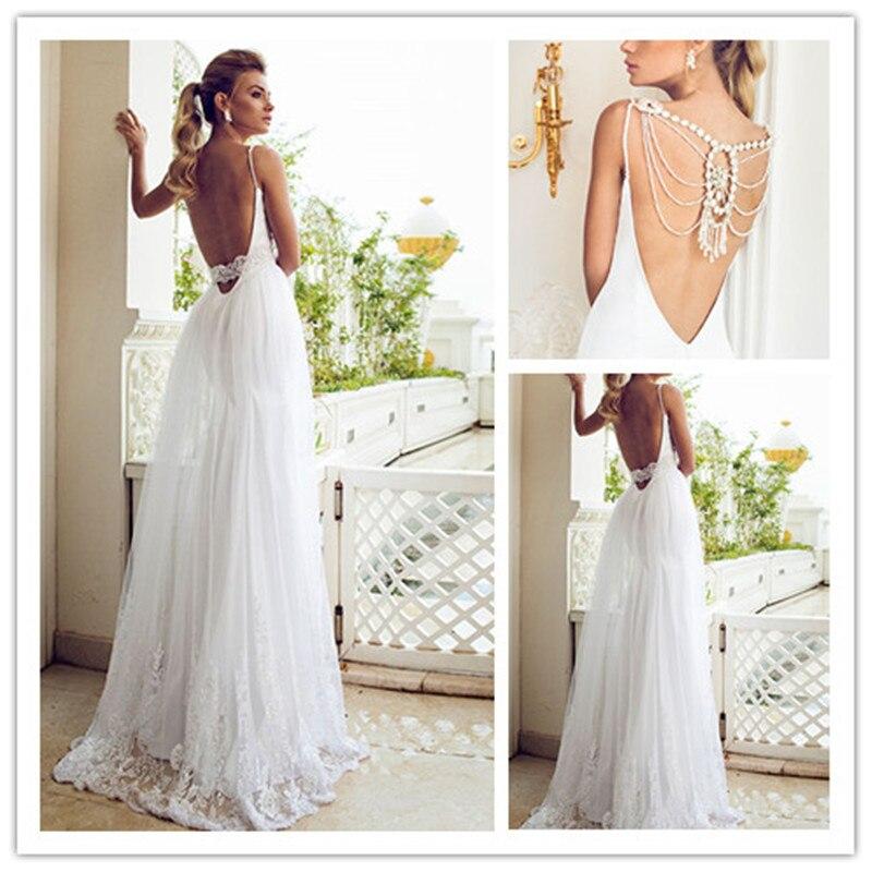 Beach Spaghetti Strap Wedding Gown: MANSA Sexy Backless Spaghetti Straps Beach Wedding Dresses