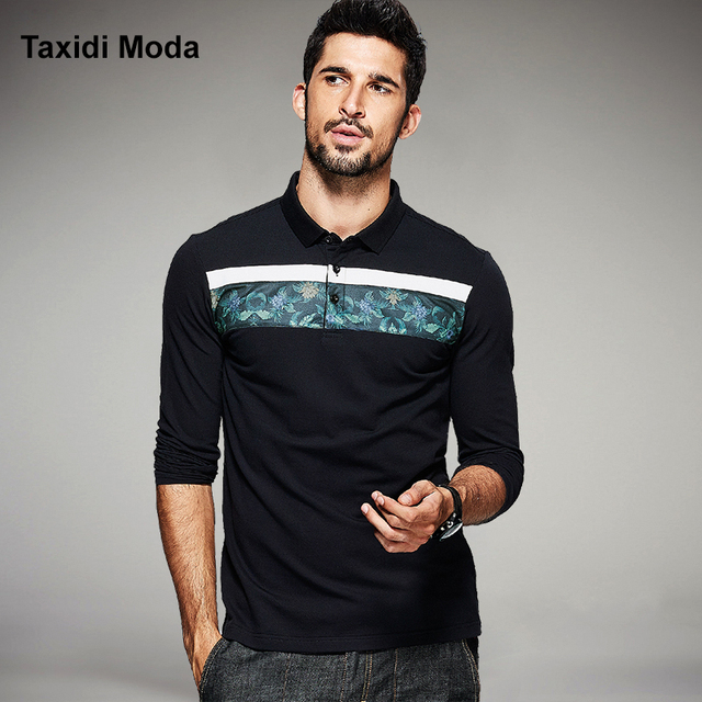 2017 Spring Mens Fashion Polo Shirts Flower Patchwork Black Luxury Brands Clothing Long Sleeve Clothes For Man's Slim Fit Tops
