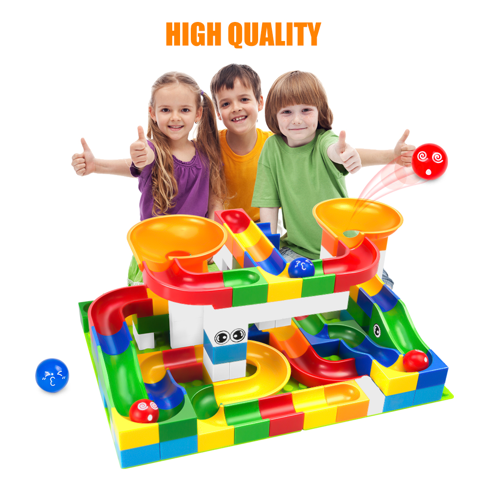 105PCS Marble Race Run Maze Ball Track Building Blocks Plastic Funnel Slide Big Size Bricks Compatible With Blocks