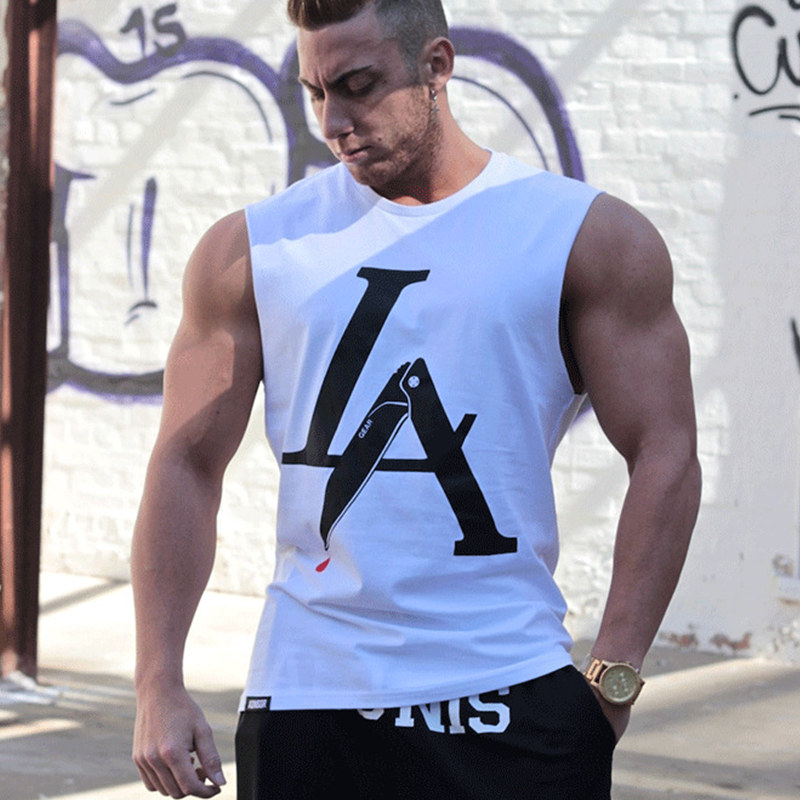 Mens Fashion personality   Tank     Tops   gyms Fitness bodybuilding Brand sleeveless Shirts Stringer breathable Loose Undershirt Vest
