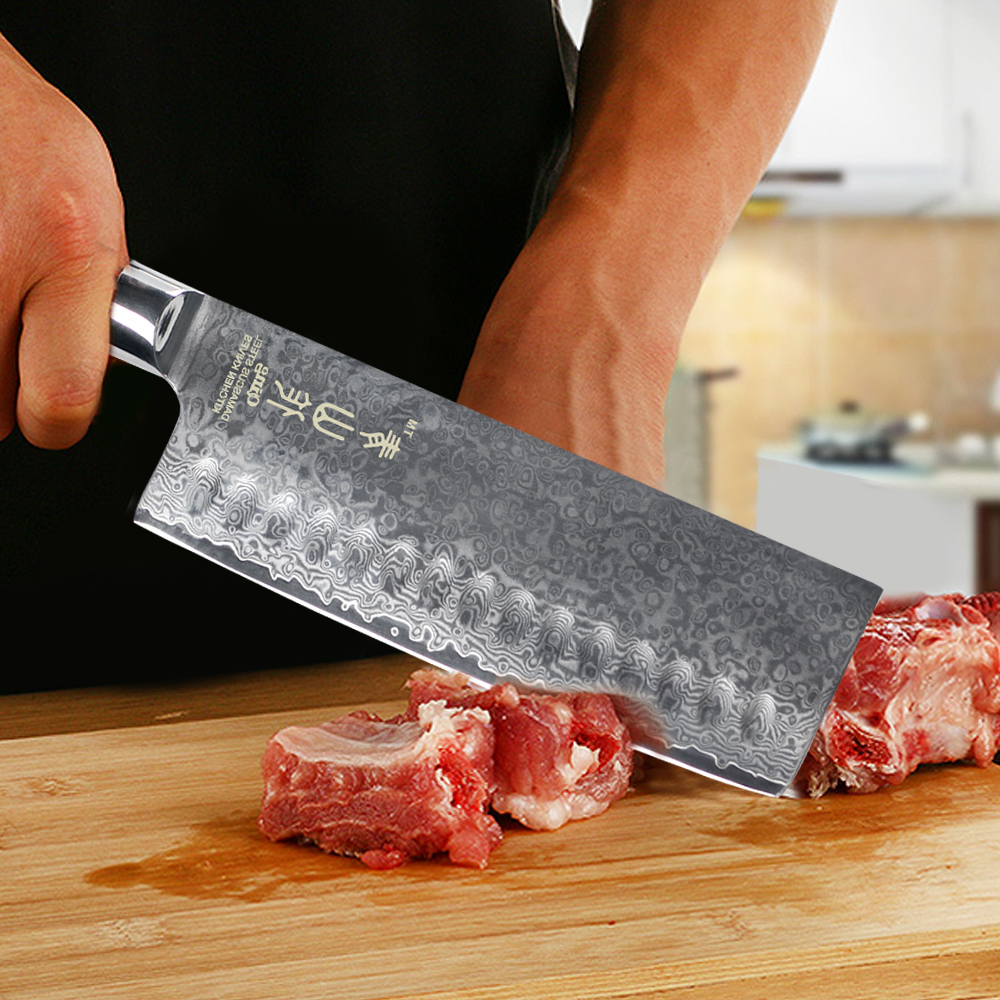 """QING damaszek nóż 8 """"Chef 7"""" do krojenia nóż santoku VG10 rdzeń damaszek noże kuchenne zestaw kolor drewna uchwyt gotowania narzędzia w Noże kuchenne od Dom i ogród na  Grupa 2"""