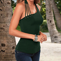 Sexy Blusas Femininas 2017 Women Casual Sleeveless Hollow Out Slim Summer Solid Halter Neck Tanks Tops Off Shoulder Tops