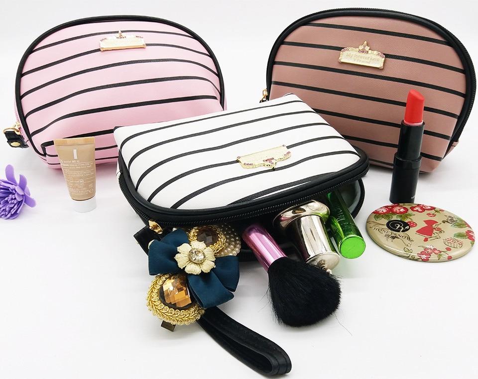 Zipper Women Cosmetic Bag Waterproof Striped Lady Makeup Bag Organizer Neceser Pu Leather Toiletry Storage Bags