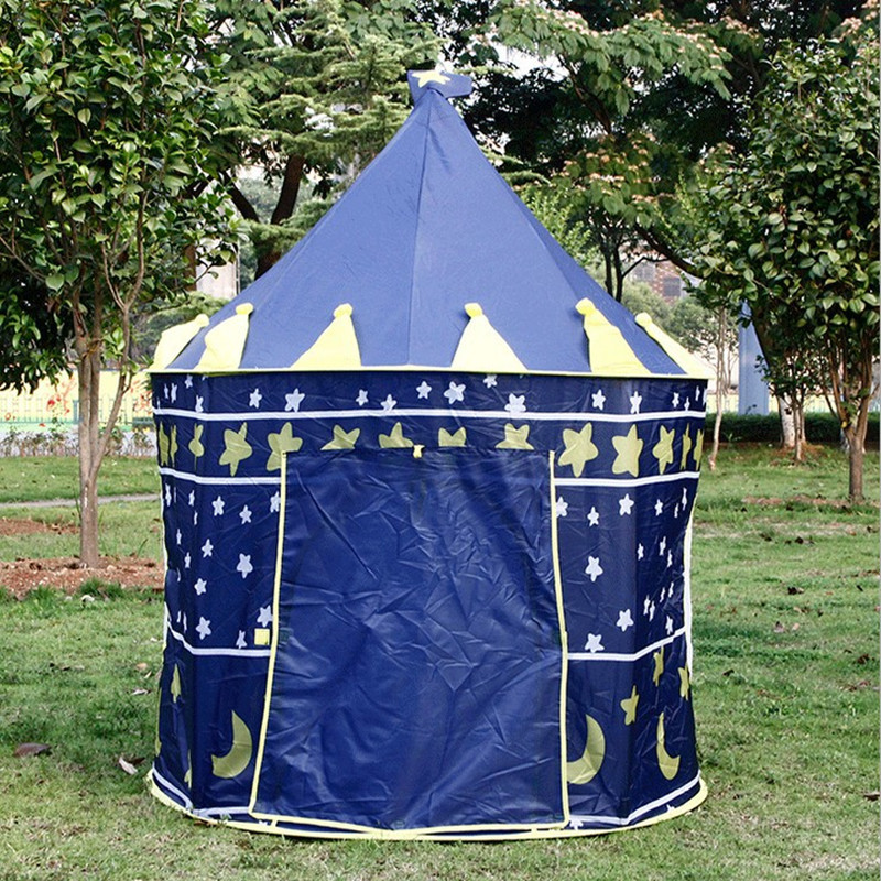Large Blue Prince Tent Cute Kids Game House Child Play Tent Pretty Indoor And Outdoor Play Tent kids gift quality mushroom child tent 50 ocean balls kids game house 5 5 cm wave balls indoor