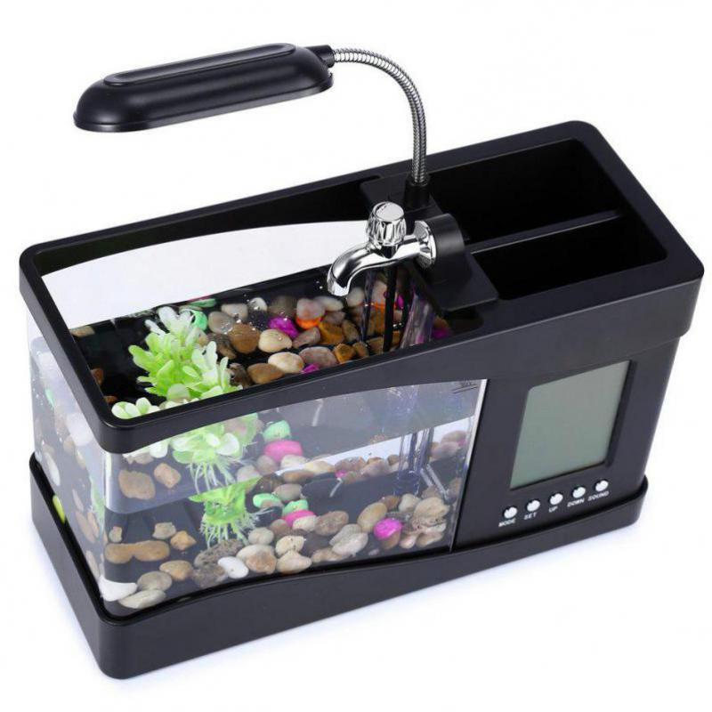 USB Mini Aquarium Aquarium Aquarium bureau électronique réservoir de poissons décoration avec de l'eau en cours d'exécution LED pompe lumière calendrier horloge blanc et noir - 6