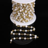 5Meter,Fashion White Labradorite 4mm Round beads Rosary Chain,Rainbow Moonstone beads Wire Wrapped Chain DIY Bracelet Necklace