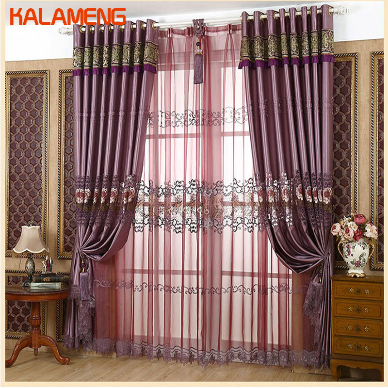 Europe Royal Luxury Embroidered Curtain With Beads For Living Room Imitated Silk Fabric Hollow Out Curtains For Bedroom WB0404