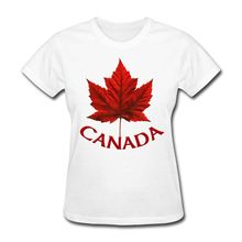 Canada Maple Leaf Women's T-Shirt Crew Neck T Shirts Sale Woman Shirts Cheap Price For Women Top Quality Cotton Slim O Neck(China)