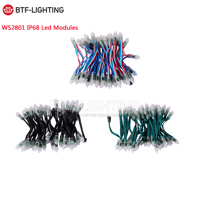 50pcs/100pcs led modules 12mm IP30 non Waterproof / IP68 Waterproof Full Color Digital Diffused RGB LED Pixel WS2801 DC5V pm200dha060 1 pm150dha060 steam pm100dha060 100% pim iq modules