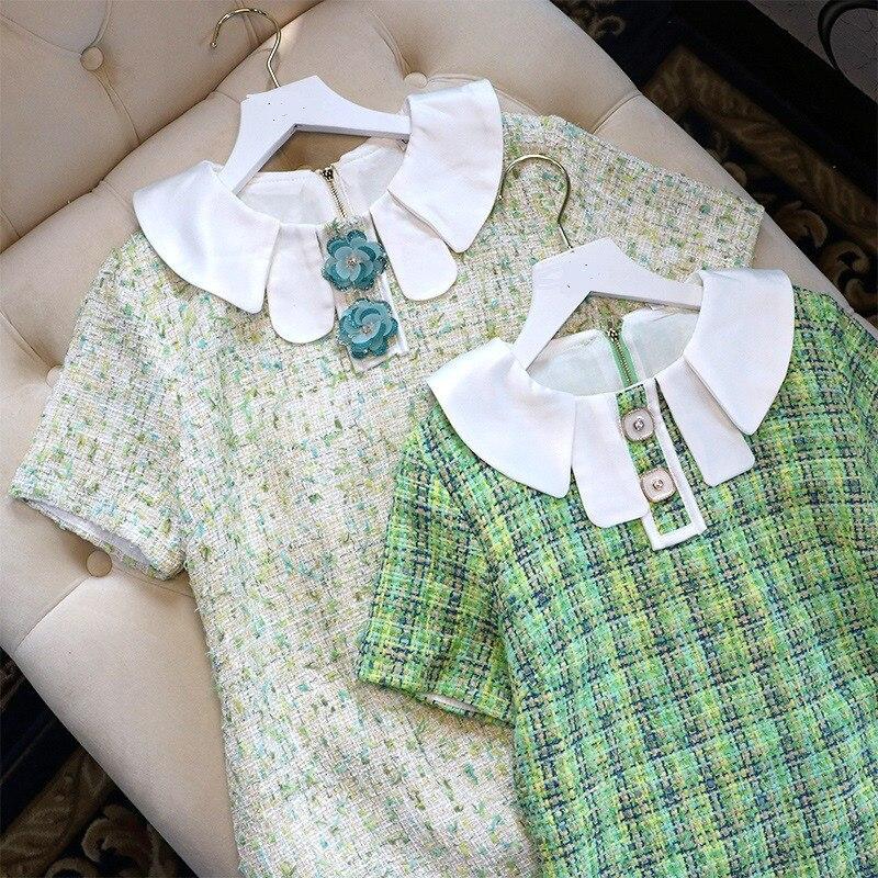 2019 été nouvelle mode femmes robe de haute qualitémarque de luxe Eurpean Plaid Peter Pan col partie Style Mini robe