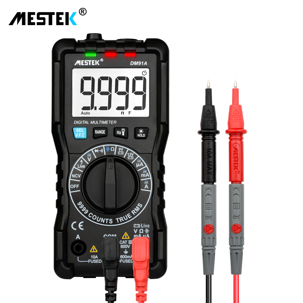 MESTEK DM91A mini multímetro digital, 9999 cuentas auto de la gama de multimetre multi medidor multitester