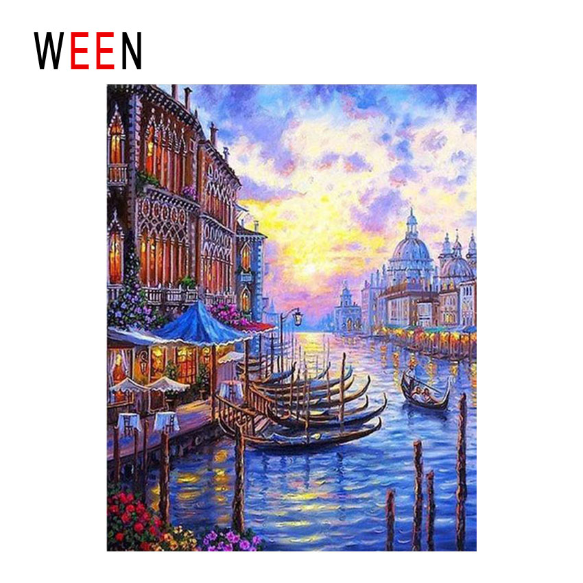 WEEN Dusk Venice Diy Painting By Numbers Abstract River Town Oil On Canvas Boat Cuadros Decoracion Acrylic Home Decor