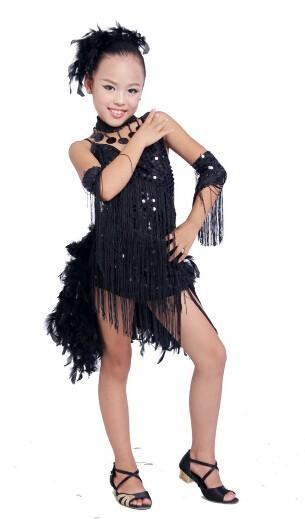 DB23553 fringe feather sequin latin dance dress-10