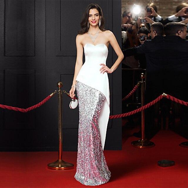 Elegant Celebrity Dress Mermaid 2016 Backless Selena Gomez Sleeveless Evening  Dresses Long Off Shoulder Sequin Free Shipping b359a9200728