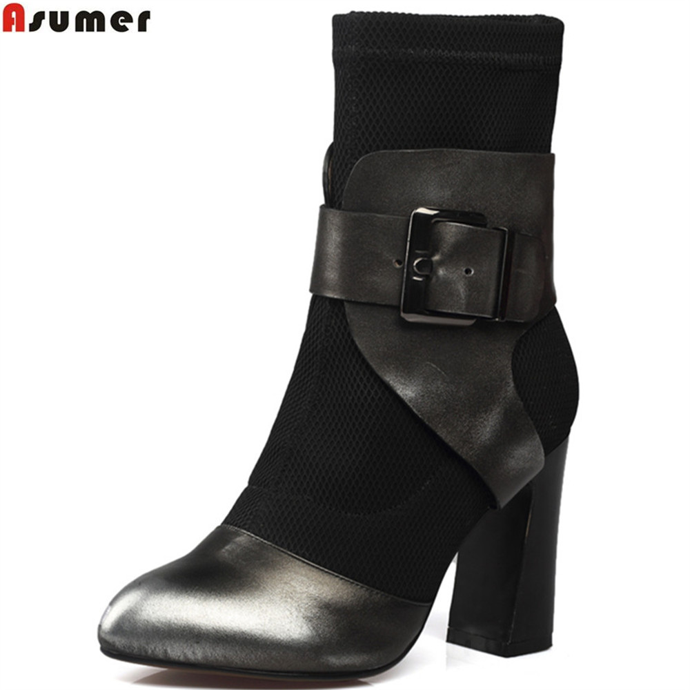 Asumer fashion new arrive women boots round toe ladies genuine leather +stretch fabric boots buckle square heel ankle boots
