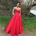 2017 elegante red prom dress frisado decote cetim do assoalho-comprimento do vestido do baile de formatura vestidos