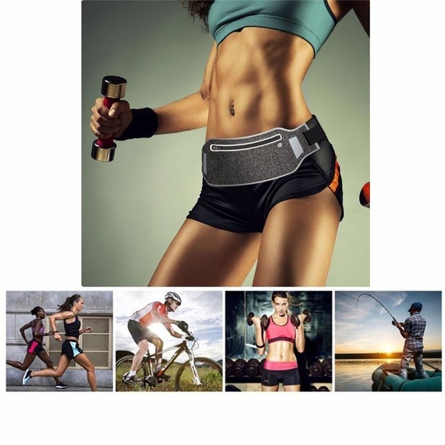 Ultra-thin Running Waist Pouch Bag Lightweight Sport Belt Waist Pack Fits for iPhone 6 6s 7 for Men Women with Hidden Pouch