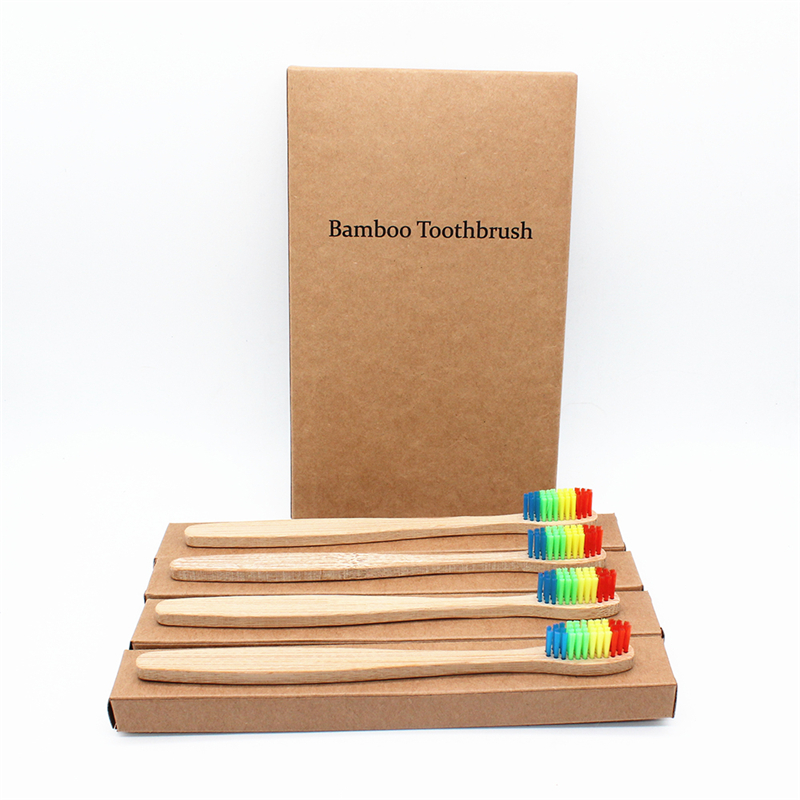 Boutique Packaging Rainbow Bamboo Toothbrush 4Pcs/Lots Bamboo Handle Bamboo Fiber Bristle Tandenborstel Low carbon Toothbrush image