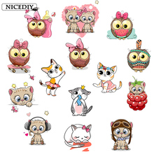 Nicediy Lovely Cat Shape Patches Owl Heat Transfer Iron On Patch Clothes Stickers for Children Baby Girl Stripe T-shirt Applique