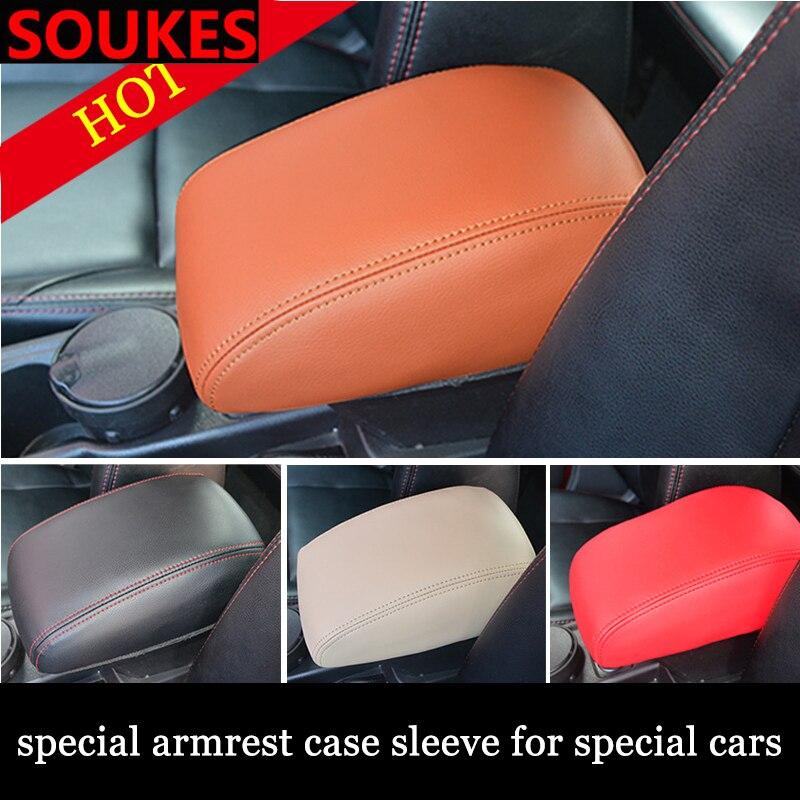 Genuine Leather Car Center Elastic Armrest Cover For Hyundai Solaris Tucson I30 IX35 Accent Santa Fe Elantra Coupe Santafe Null|Car Stickers| |  - title=