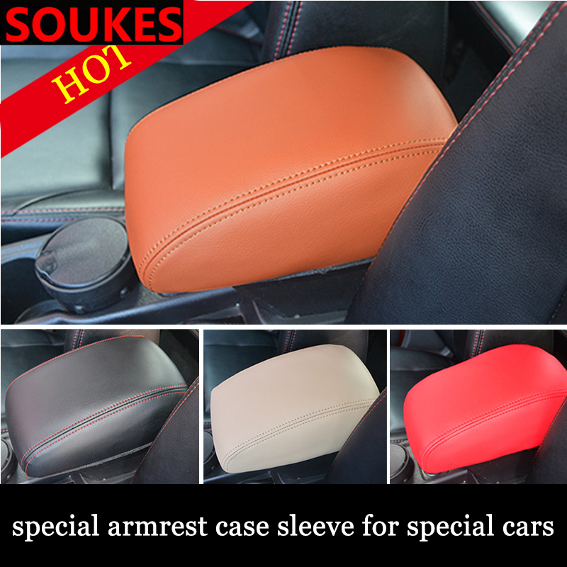 Genuine Leather Car Center Elastic Armrest Cover For Skoda Octavia A5 A7 Kodiaq Superb 2 Rapid Fabia 1 Porsche 911 Cayenne Macan