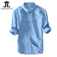 Новинка 2018 мужские льняные рубашки для мужчин, верхняя одежда, 55% лен + 45% хлопок, повседневные однобортные тонкие мужские рубашки, размер S-3XL ...