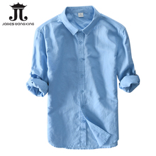 New 2018 Men Linen Shirts For Man top Clothing Solid 55%linen+45%Cotton Casual S