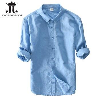 253d958d78f Nuevo 2018 camisas de lino para Hombre Ropa superior sólido 55% Lino + 45% algodón  Casual solo pecho delgado hombre tamaño de la camisa S-3XL 601