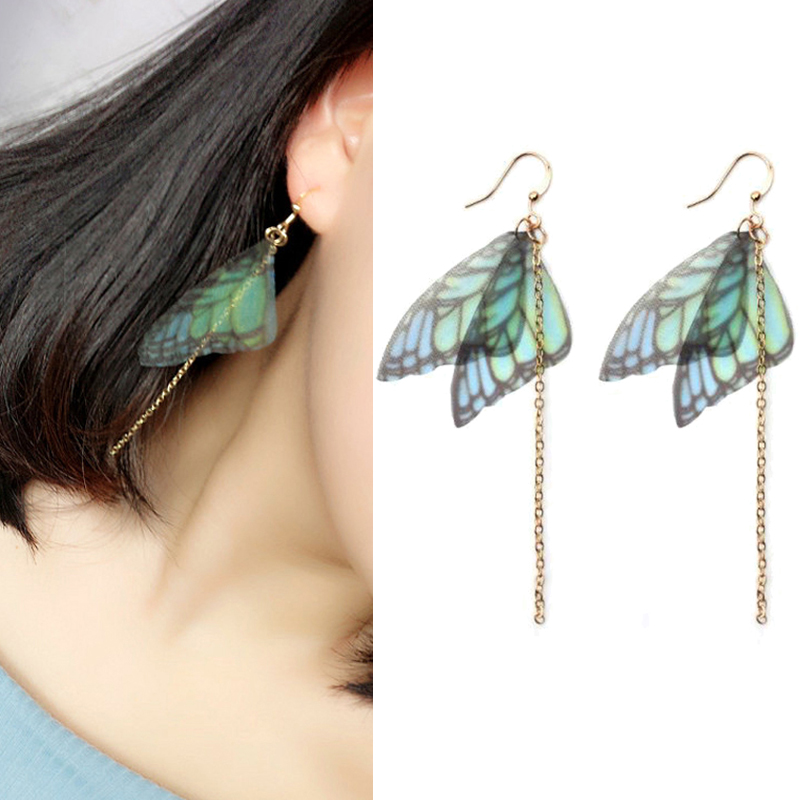 Crazy Feng 2018 Fashion Femme Butterfly Wing Drop Earrings Gold Color Long Chain Tassel Earring Dangles Bohemian Jewelry Brincos(China)