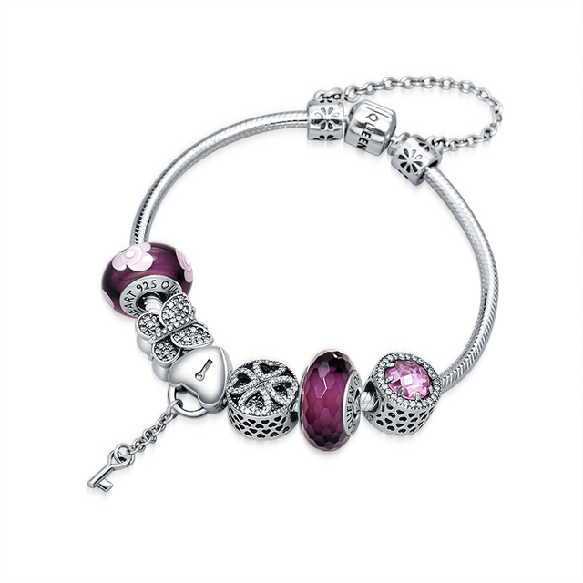 QUEEN OF HEART Fine Jewelry European Style 925 Sterling Silver Charm Bracelets Amethyst Heart Lock Charm Beaded Bracelet A5