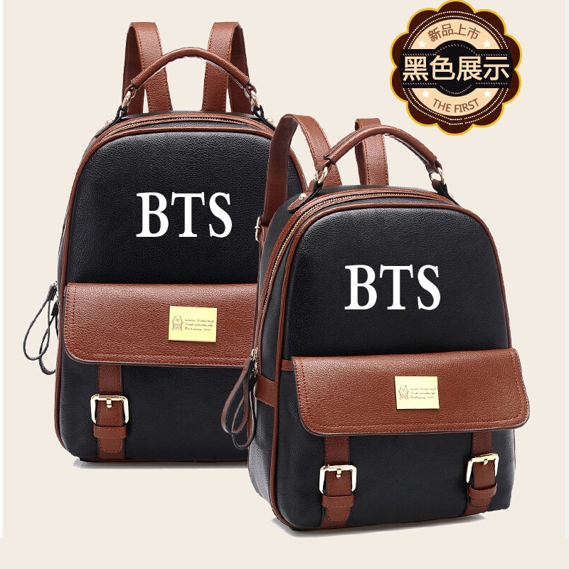 Kpop BTS Bangtan Boys Album ARMY Symbol PU Backpack Knapsack Travel Bag Leisure Daily Backpack Student School Bag Cool Gift