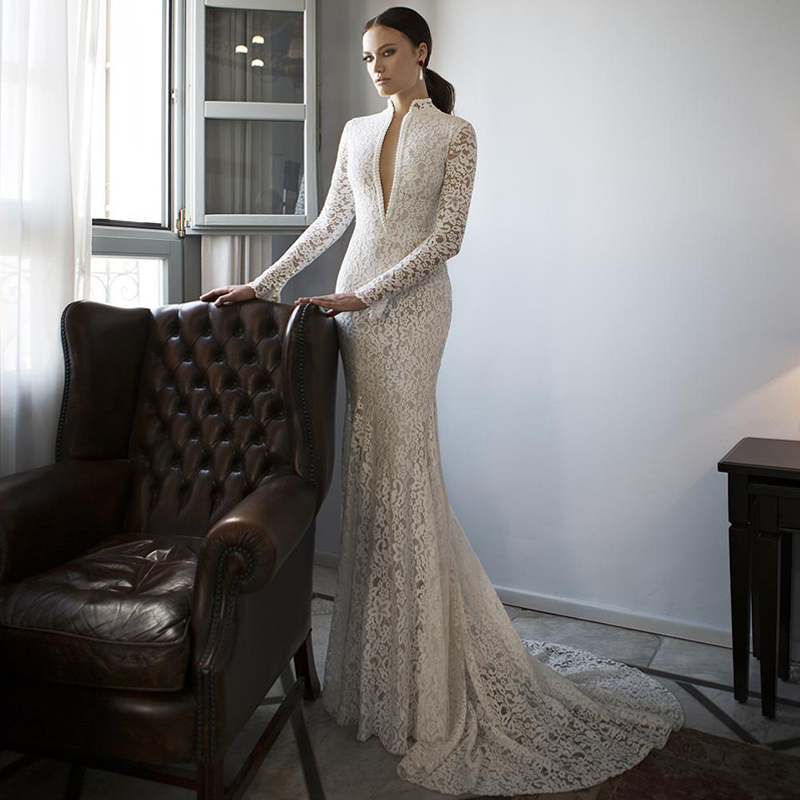Mermaid wedding dresses 2017 new deep v neck vintage cheap for Modern long sleeve wedding dresses
