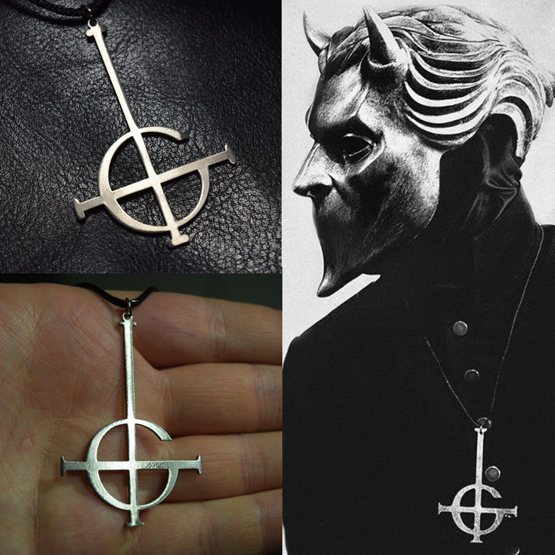 Ghost bc Nameless Ghoul Necklace Pendant Ghost Band Grucifix Papa Emeritus Patch Jewelry wholesale rgb 45w led fiber optic engine wifi voice control via app for all kinds fiber optics