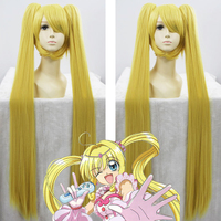 Biamoxer Anime Mermaid Melody Pichi Pichi Pitch Cosplay Wig Lucia Nanami Blonde 120cm Long Ponytails Synthetic Hair Adult