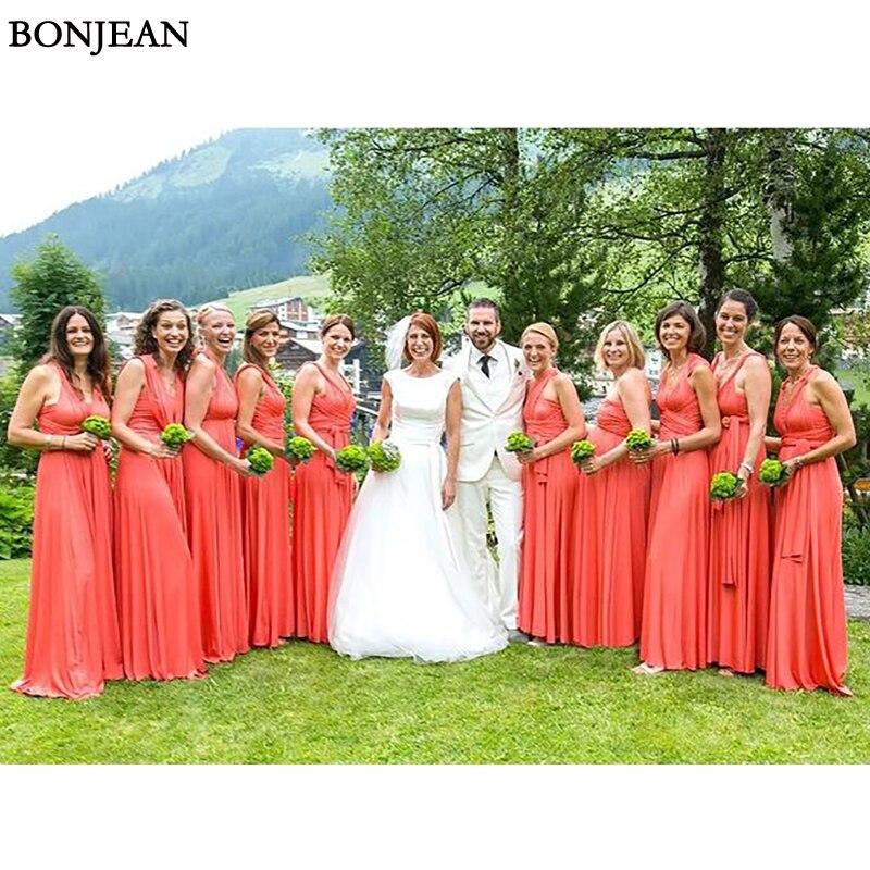 New A-Line  Bridesmaid Dress Chiffion Mismatched Formal Dress Sleeveless Long Bridesmaid Dresses Plus Size Custom Made