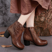 Fashion Chinese Style Med Heel Round Toe Women Shoes Ankle Boots Genuine Leather Zip Shoes Women Handmade Short Boots Footwear