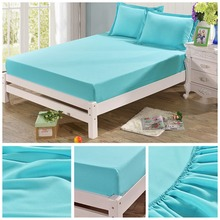 1Pcs New Reach 120*200/150*200/180*200 100%Polyester Solid Colorful Fitted Sheet Cotton Bed Sheet Pillow Case Single #287719