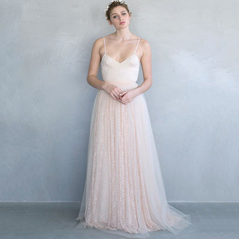 Blush Pink Lace Floor Length Skirt Saia Maxi Skirts Brides Outside Long Skirt Pleated saias longa Fresh New Design Style Skirts