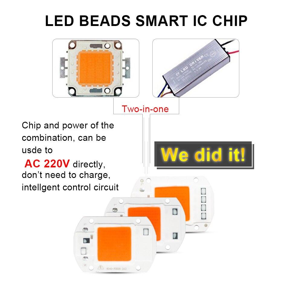 Светодиодный Growlight чип полный спектр 380nm ~ 780nm светодиодный чип 220 В 1500LM 2200LM 4000LM 10000 часов долгий срок службы