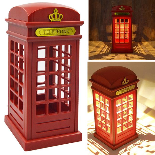 USB/Retro Londres Cabina de Teléfono de La Batería Luz de La Noche de Doble Uso de LED Lámpara de Mesa de Noche
