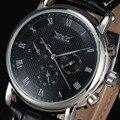 2016 JARAGAR Marca de Moda Automático Mecânica Auto-Vento 24 Horas Semana Data Luxuxry Roman Dial Homens de Couro Vestido de Pulso relógios