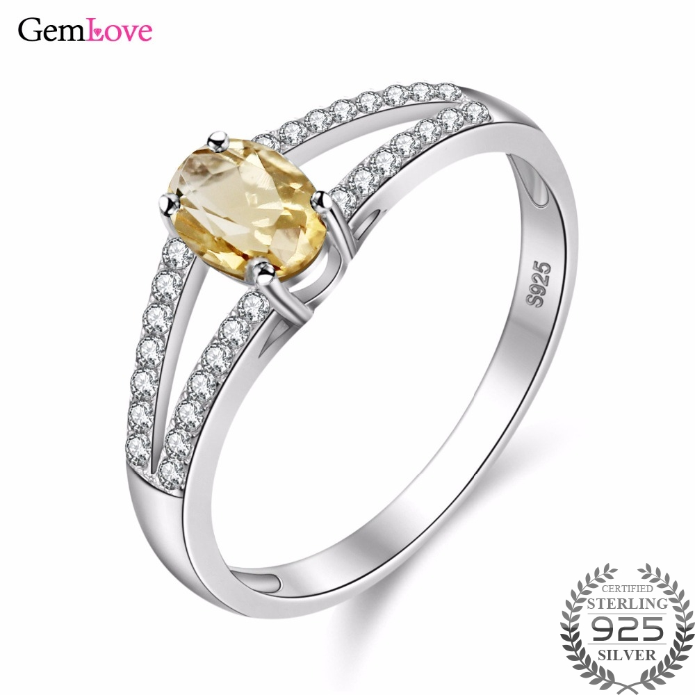 Gemlove Yellow Oval Natural Stone 925 Sterling Silver Wedding Rings Zircon Citrine Female Jewelry For Women With Box Cj035 In From
