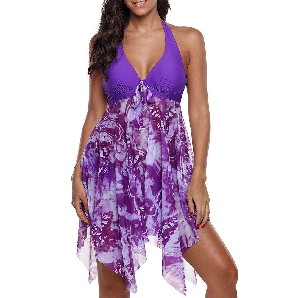 Liberal Women Bikini Set Printed Beach Swimwear Swimming Dress Shorts Fashion Backless Two Piece Split Swimsuit Summer Sexy Party Handsome Appearance