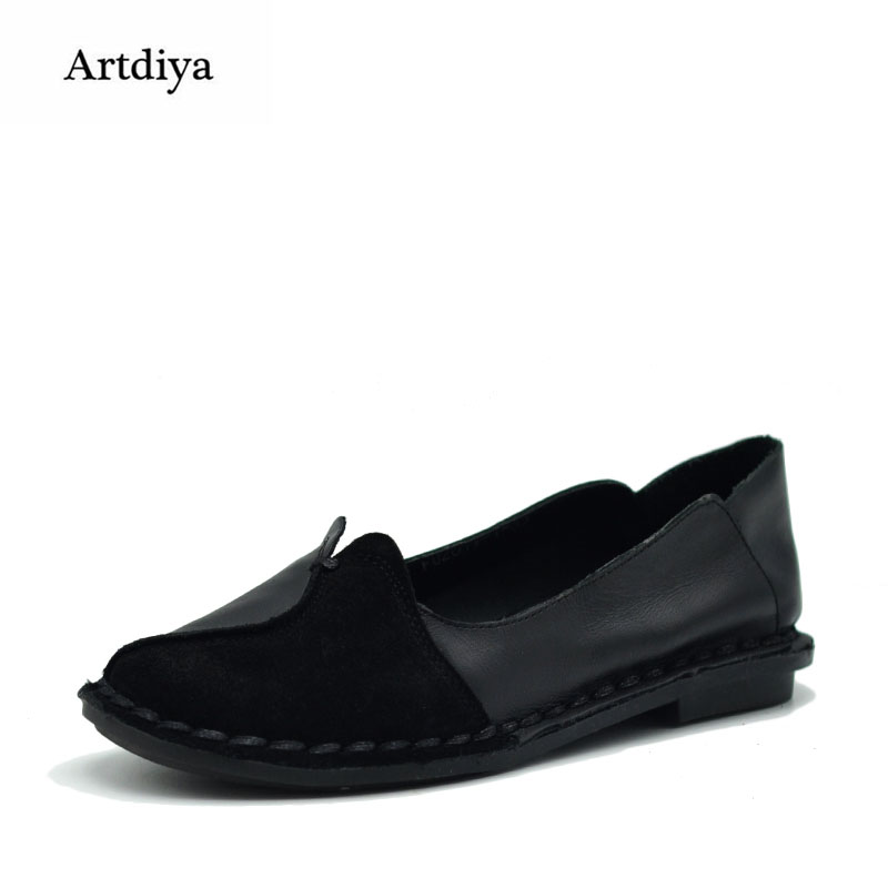 Artdiya 2018 New Spring and Summer Comfortable Soft Sole Cowhide Flat Shoes Simple Shallow Mouth Leather Women Shoes FU2019-1 cresfimix zapatos women cute flat shoes lady spring and summer pu leather flats female casual soft comfortable slip on shoes