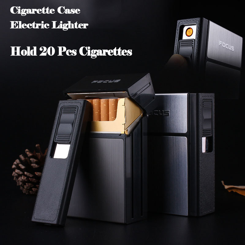Cigarette Holder Box with Removable USB Electronic Lighter Flameless Windproof Tobacco Cigarette Case Lighter Rechargeable